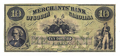1857 The Merchants' Bank of South Carolina, Cheraw - $10 Obsolete Note No.387