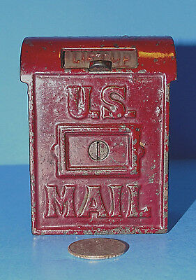 Antique Cast Iron Penny Still U S Mail Bank Dark Red A C Williams Vintage Old