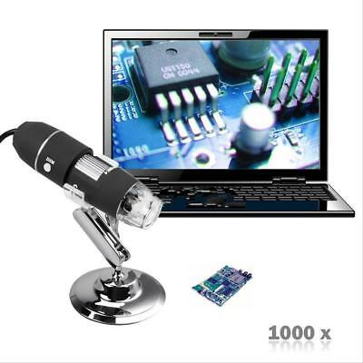 2MP 1000X 8 LED USB Digital Microscope Endoscope Zoom Camera Magnifier& Stand IN