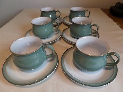 Superb Set Of 6 Denby Stoneware Green Regency Cups And Saucers