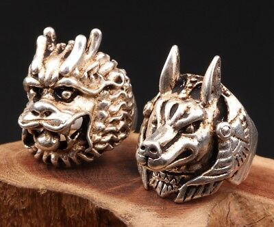 2 Vintage Tibetan Silver Ring Statue Fashion Sacred Dragon Dog Mascots Collec
