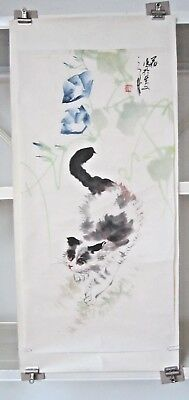 """CAT & BLUE MORNING GLORIES"" Unframed 26""x13"" Chinese Water Color"