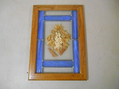 """Stained Glass Picture Window Leaded Flowers 16.5"""" x 11.5"""""""