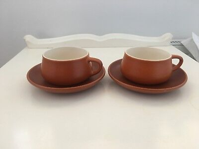 Retro Vintage Honiton Pottery Tea Cups And Saucers X 2 in Burnt Amber