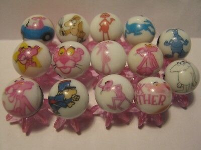 PINK PANTHER lot collection 5/8 size glass marbles + stands
