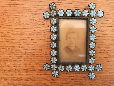 Vintage Brass Frame With Turquoise Rosettes Inserts.