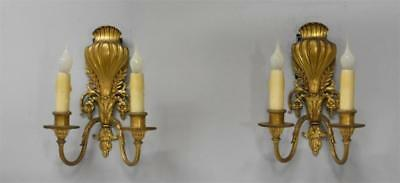Pair Brass French Style Two Socket Wall Sconces