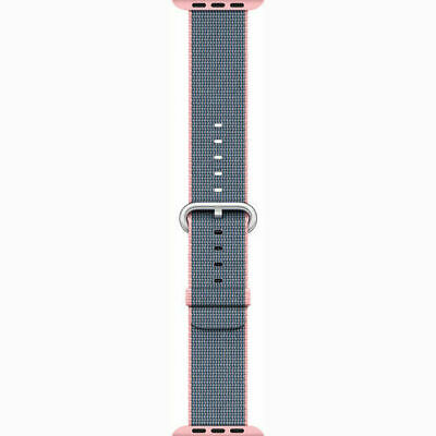 Apple Watch Woven Nylon Band (42mm, Light Pink/Midnight Blue)