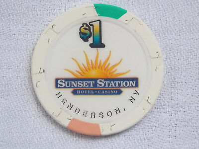 1 $ Poker Chip / Casino * Sunset Station * / Henderson / Nevada / Usa