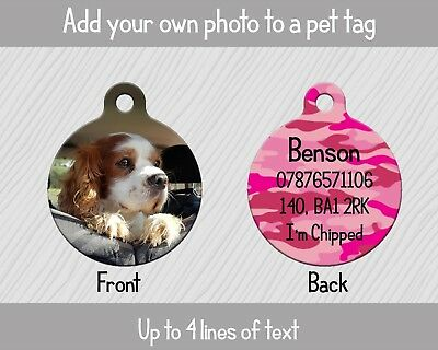 Personalised Pet Tag - ID Tag - Dog Tag - ADD YOUR OWN PHOTO - Camouflage Pink