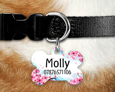 Personalised Pet Tag - ID Tag - Dog Tag - Bone Tag - Pink Blossom Dog Tag