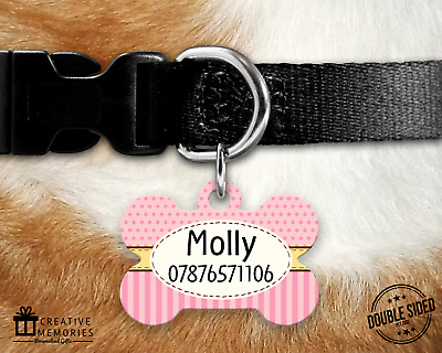 Personalised Pet ID Tag - ID Tag - Dog Tag - Bone Tag - Stripes & Dots Dog Tag