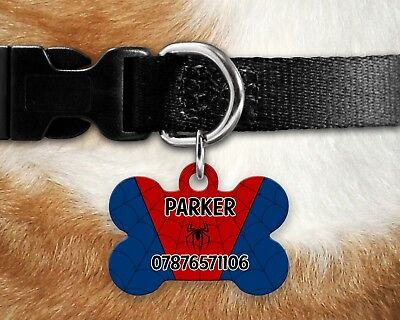 Custom Personalised Pet Dog Name ID Tag For Collar Pet Tags - Spiderman Style
