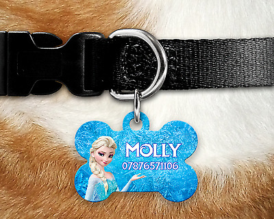 Personalised Pet ID Tag - ID Tag - Dog Tag - Bone Tag - Frozen Style
