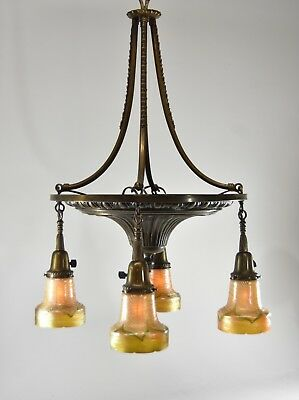Antique Turn Of The Century Four Light Brass Chandelier Spun Art Glass Shades