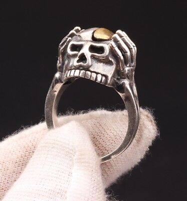 Rare Pure 925 Silver Ring Statue Old Skull Exorcist Mascot Collection