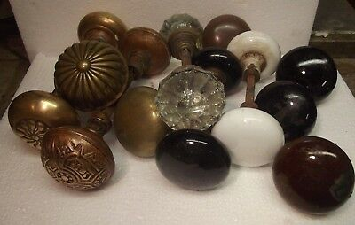 Large Lot Antique Brass Door Knobs BRASS/GLASS/ OLD ORIGINAL EASTLAKE DOOR KNOB?
