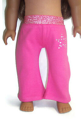 18 inch Doll Clothes for American Girl Bright Pink Yoga Pants with Rhinestones