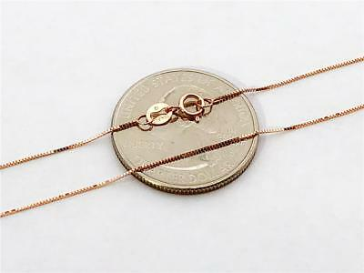 """10K 18"""" Solid Rose Gold Thin Dainty Classic BOX Necklace Chain .5mm 10K Gold"""