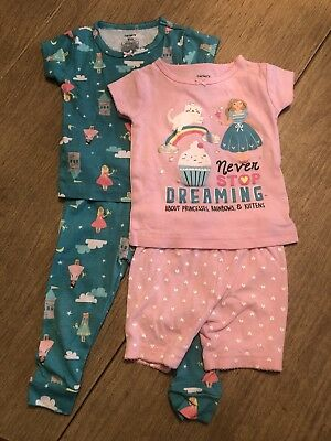 FREE SHIPPING!! Baby Girl Pajama Outfits Size 12 Mo. (2 Outfits)