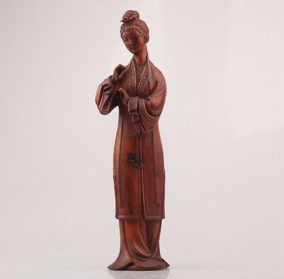 Republican Period Vintage Chinese Boxwood Statue Old Hand-Carved Belle Decora