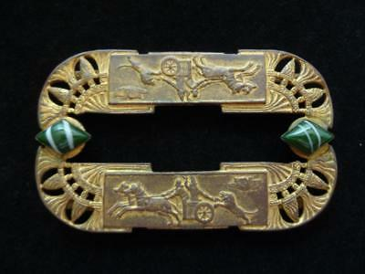 Vintage Art Deco Egyptian Revival Belt Buckle w/ Chariot Riders, Lion, Vulture
