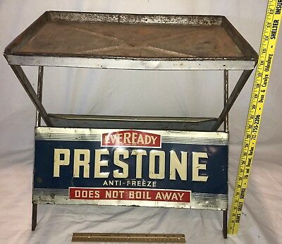 Antique Eveready Prestone Anti Freeze Tin Litho Sign Gas Oil Station Can Display