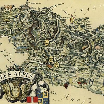 Map Of The Alps In France.Alps Grenoble France Small Cartoon Map C 1950 Decorative Colorful