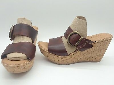 cafc655e01ff NIB BORN WOMEN S Emmy Band Wedge Leather Sandals in Rust -  84.99 ...