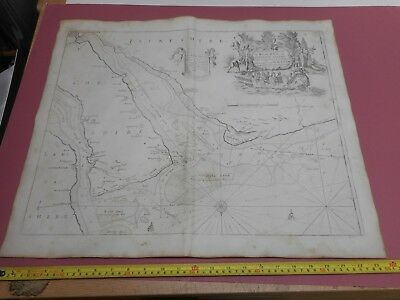 100% Original Chester Wirral River Dee Sea Chart Map Engr. By G Collins C1693