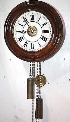 """Antique Mid-1800's Wood Plate German """"postal"""" Weight Driven Wall Clock W/ Alarm."""