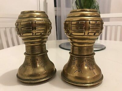 Pair of Genuine Antique Chinese Brass Vase from Circa 1800s.