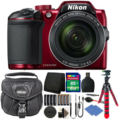 Nikon Coolpix B500 16MP Digital Camera Red + Extra Batteries + Accessories
