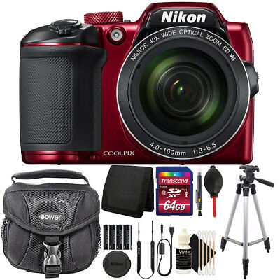Nikon COOLPIX B500 16MP Built-in Wi-Fi Digital Camera Red + 64GB Accessory Kit