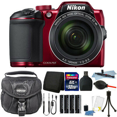 Nikon Coolpix B500 16MP Point and Shoot Camera Red with 32GB Accessory Kit