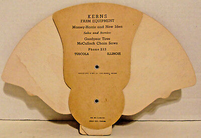 Vintage Kerns Farm Equipment Adv. Fan, Tuscola, IL, Massey-Harris, New Idea