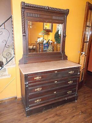 Victorian eastlake  Dresser with Marble Top & Mirror 1800s era rare