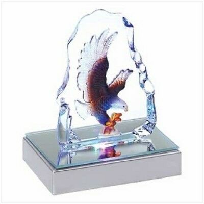 Crystal Figurine Sculpture American Bald Eagle with LED Light Patriotic Decor