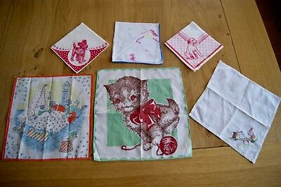 6 CUTE VINTAGE HANDKERCHIEFS HANKY Animals Dogs Cats Embroidered Printed #HK7