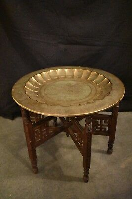 Antique Indian Brass Tray Table with Folding Wooden Stand Great Condition