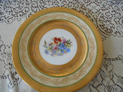 hutchenreither germany gold plate with blue dresden flowers