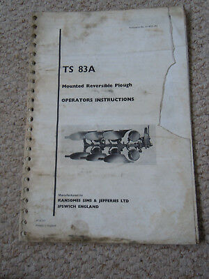 @Vintage Ransomes TS 83A Mounted Reversible Plough Operators Instruction Book @