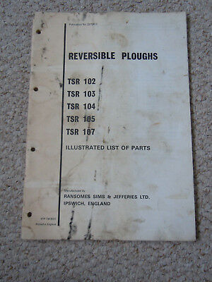 @Vintage Ransomes Reversible Ploughs TSR 102 103 104 105 107 Parts Book @