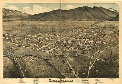 A4 Reprint of American Cities Towns States Map Leadville Lake Colorado