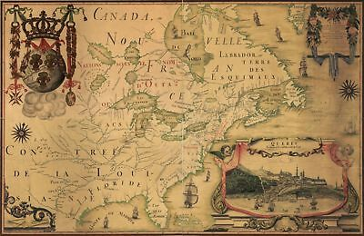 A4 Reprint of Old Maps French Canadian 1700s Canada France North GB