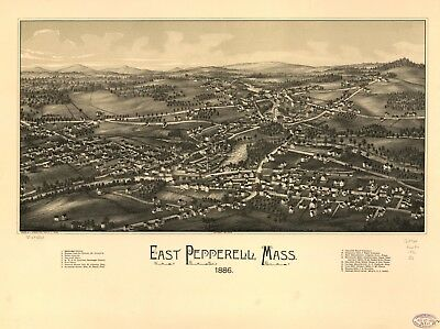A4 Reprint of American Cities Towns States Map East Pepperell Mass