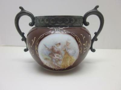 Victorian Painted Opal / Milk Glass Sugar Bowl, Romantic Couple Scene
