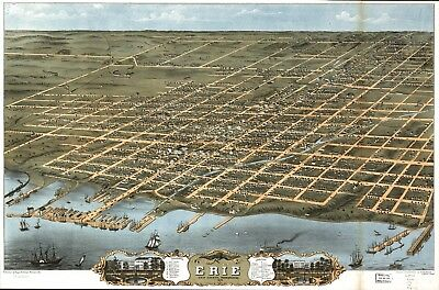 A4 Reprint of American Cities Towns States Map Erie Pennsylvania