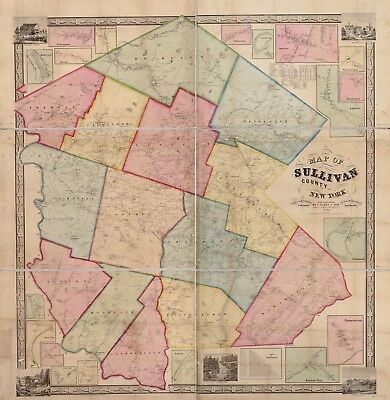 A4 Reprint of American Cities Towns States Map Sullivan Ny