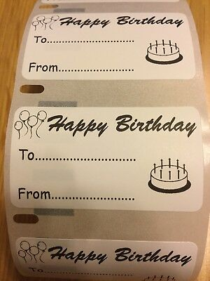 NEW 40 Printed Happy Birthday Labels 57 x 32mm UK Free Post Gift Tags Labels